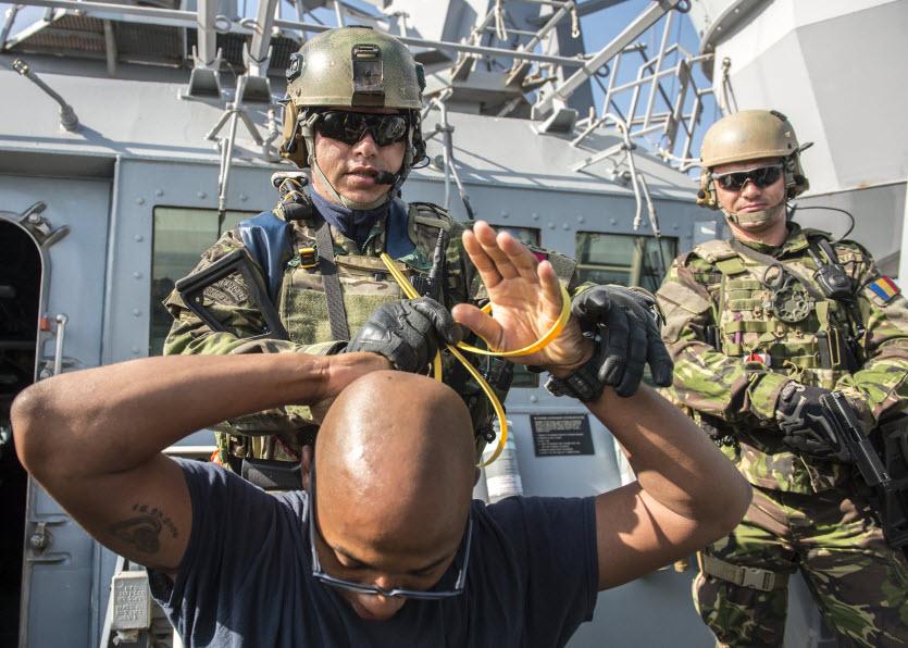 black sea april 23 2014 quartermaster 1st class lucas gibson acts as a